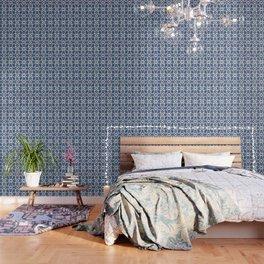 Iznik Pattern Blue and White Wallpaper