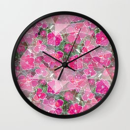 Raspberry, pink flowers on a green background. Wall Clock