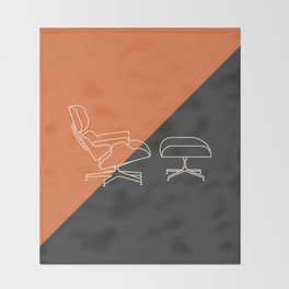 Eames Lounge // Mid Century Modern Minimalist Illustration Throw Blanket