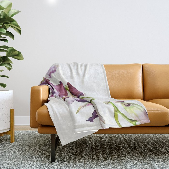 Radiant Orchids: Magenta Dendrobiums Throw Blanket