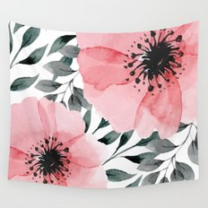 Big Watercolor Flowers Wall Tapestry