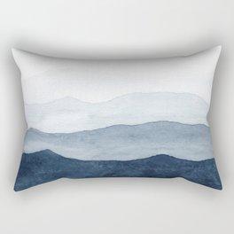 Indigo Abstract Watercolor Mountains Rectangular Pillow