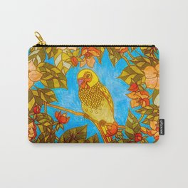 Colourful Yellow Parakeet In Flowery Wreath Carry-All Pouch