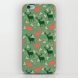 Hand painted Christmas green coral deer candy pattern iPhone Skin