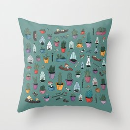 cacti and such Throw Pillow