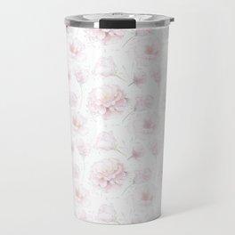 Soft Pastel Pink Rose Pattern Travel Mug