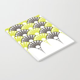 brown and lime art deco inspired fan pattern Notebook