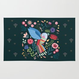 Folk Art Inspired Hummingbird With A Flurry Of Flowers Rug