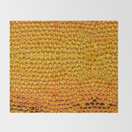 Yellow honey bees comb Throw Blanket
