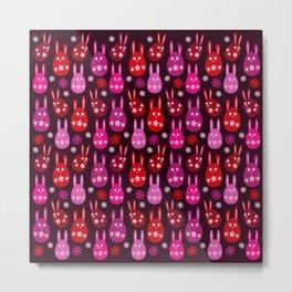 Easter Egg Bunny Pattern - Red Crimson Claret & Pink Metal Print