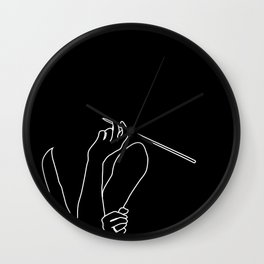 Minimal line drawing of Audrey Hepburn in the famous Breakfast at Tiffany's Wall Clock