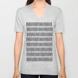 Classy Handpainted Stripes Pattern, Scandinavian Design Unisex V-Neck