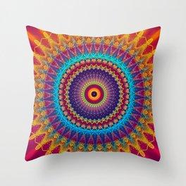 Fire and Ice Mandala Throw Pillow