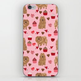 Pomeranian valentines day love hearts cupcakes pattern cute puppy dog breeds by pet friendly iPhone Skin