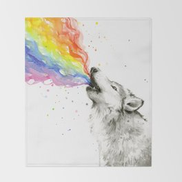 Wolf Rainbow Watercolor Howling Animal Whimsical Animals Throw Blanket