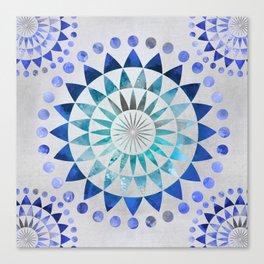 Mandala Pattern blue and turquoise Canvas Print