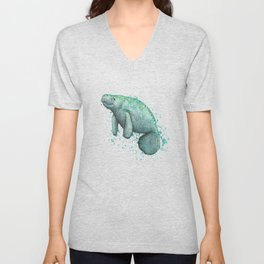 """""""Mossy Manatee"""" by Amber Marine ~ Watercolor & Ink Painting, (Copyright 2016) Unisex V-Neck"""