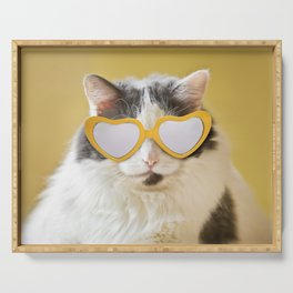 Fat Cat inYellow Heart Shaped Shades Serving Tray