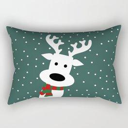 Reindeer in a snowy day (green) Rectangular Pillow