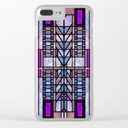 Purple and Blue Art Deco Stained Glass Design Clear iPhone Case