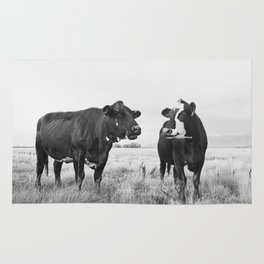 Cattle Photograph in Black and White Rug