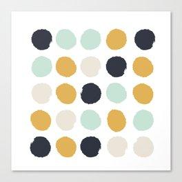 Tinsley - painted dots polka dots minimalist decor nursery gold navy Canvas Print