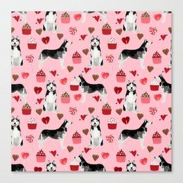 Husky Siberian Huskies dog breed valentines day love pattern print by pet friendly for dog person Canvas Print