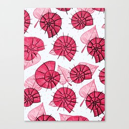 Pink Snails And Leaves Ink Drawn Pattern Canvas Print
