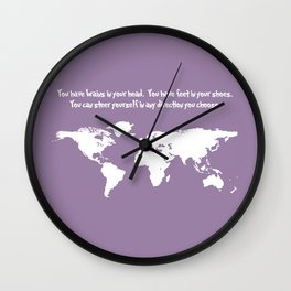 World Map with Dr. Seuss Quote Wall Clock