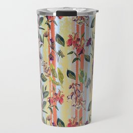 Wild Flowers on Stripes Travel Mug