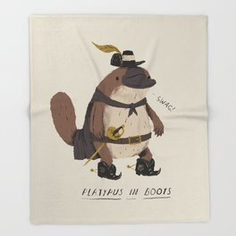 platypus in boots Throw Blanket