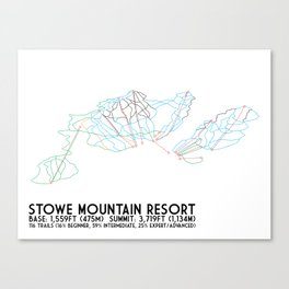 Stowe Mountain Resort, VT - Minimalist Trail Art Canvas Print
