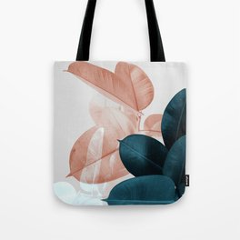 Blush & Blue Leaves Tote Bag