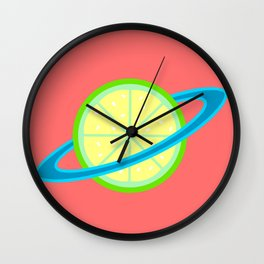 Planet Lime | Lime | Citrus | Fruit | Solar System | Planets | pulps of wood Wall Clock