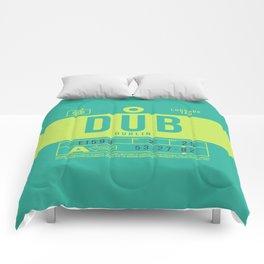 Retro Airline Luggage Tag 2.0 - DUB Dublin Airport Ireland Comforters