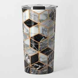 Marble Cubes - Black and White Travel Mug