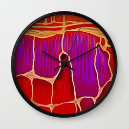 Distant Trees in Violet and Vermillion Wall Clock