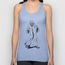 Grim reaper holding an hourglass -  black and white Unisex Tank Top