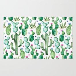 Watercolor Cactus Pattern Rug