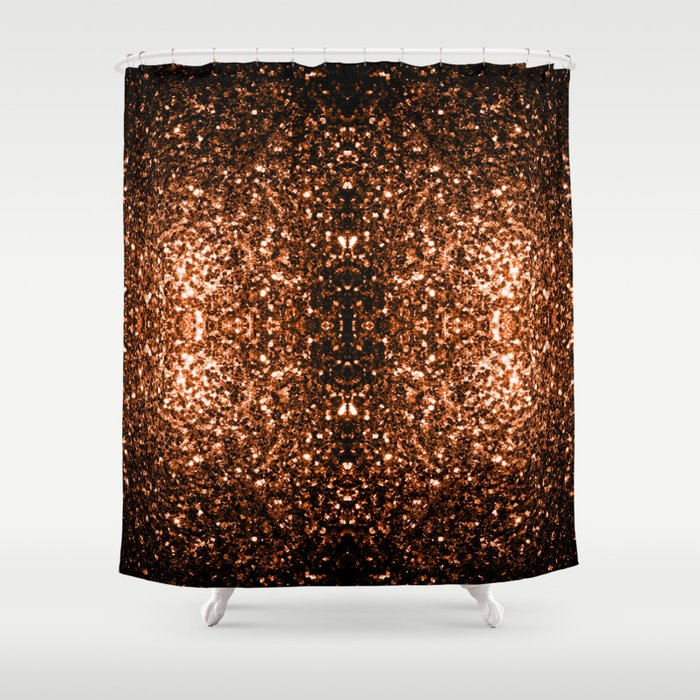 Beautiful Bronze Orange Brown Glitters Sparkles Shower Curtain