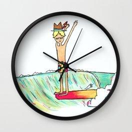 hang 10 surf dude Wall Clock