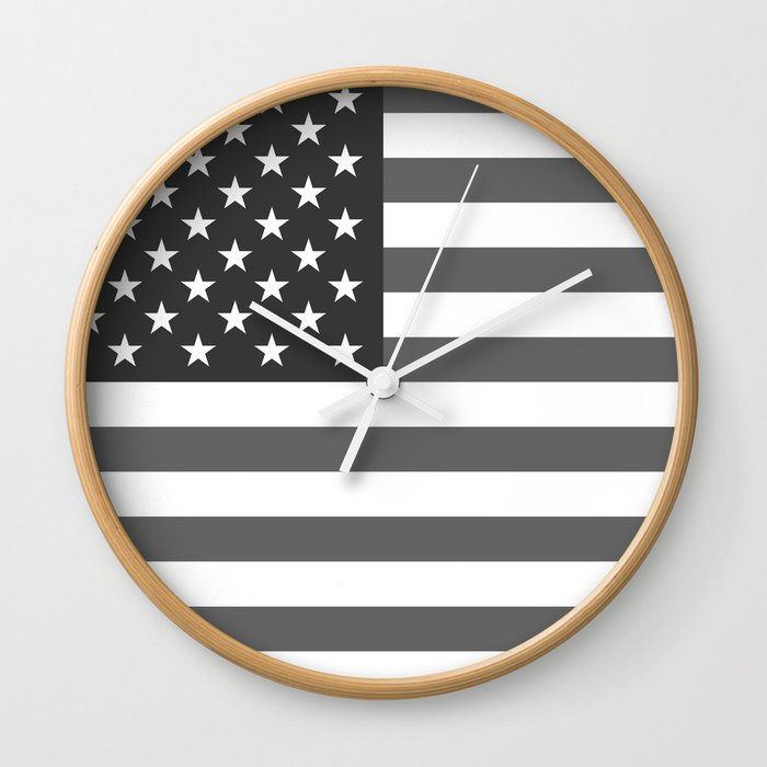 National Flag Of The Usa Bw Version Wall Clock By