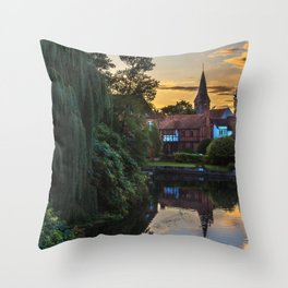 Early Evening Whitchurch on Thames Throw Pillow