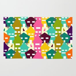 Colorful houses and cats Rug