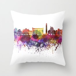 Bari skyline in watercolor background Throw Pillow