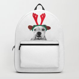Black and White Boxer Christmas Backpack
