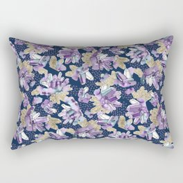 Amethyst Crystal Clusters / Violet, Blue and Gold Rectangular Pillow