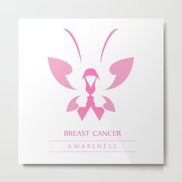 Pink ribbon with faces of women and butterfly to symbolize breast cancer awareness month october Metal Print