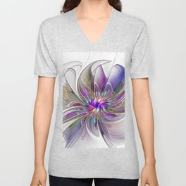 Energetic, Abstract And Colorful Fractal Art Flower Unisex V-Neck