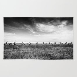 Fields of the Elysium Locomotive Street Photography BW Art Rug